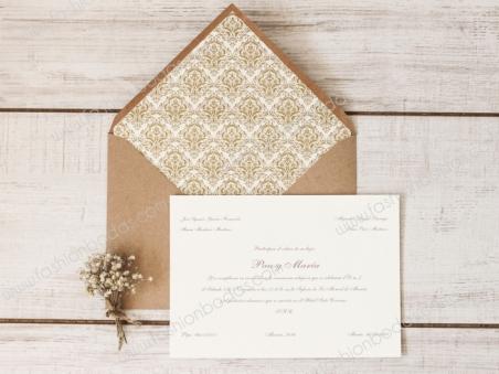 Invitación de boda CLÁSICA CON SOBRE FORRADO DORADO