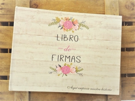 Libro de firmas - FLORAL CARD MADERA
