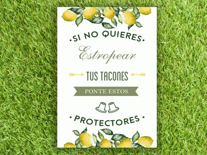 Cartel para boda - CUBRETACONES (colección Limones)