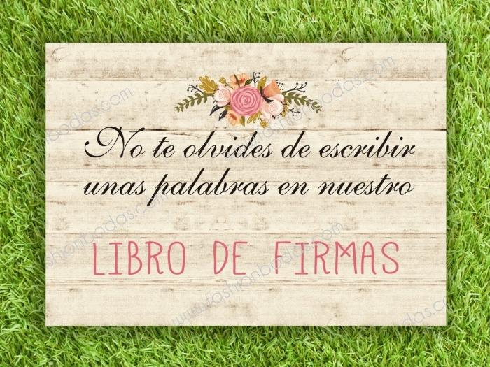 Cartel para boda - PARA LIBRO DE FIRMAS (coleccion Floral Card)