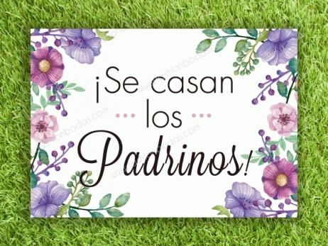 Cartel para boda - SE CASAN LOS PADRINOS