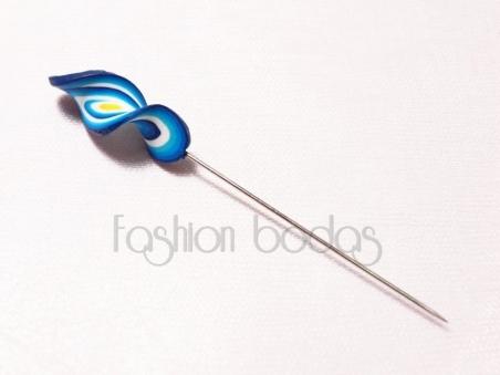 Alfiler de boda - ESPIRAL FIMO azul