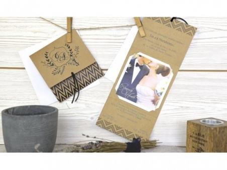 Invitación de boda kraft con foto de los novios 32608