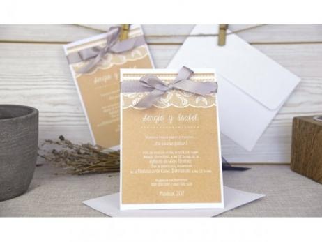 Invitación de boda - KRAFT CON ENCAJE   (C64732)