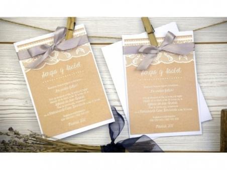 Invitación de boda vintage kraft CON ENCAJE 32647