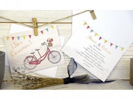 Invitación de boda vintage bicicleta 32664