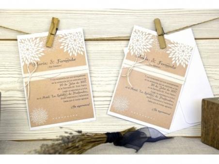 Invitación de boda barata kraft rustica 32643
