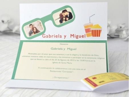 Invitación de boda original entrada de cine con FOTO 32662