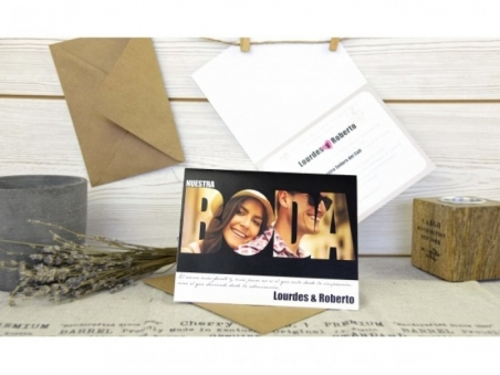 Invitación de boda diferente ORIGINAL CON FOTO CARD 32607