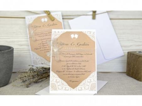 Invitación de boda rustica ENCAJE 32644