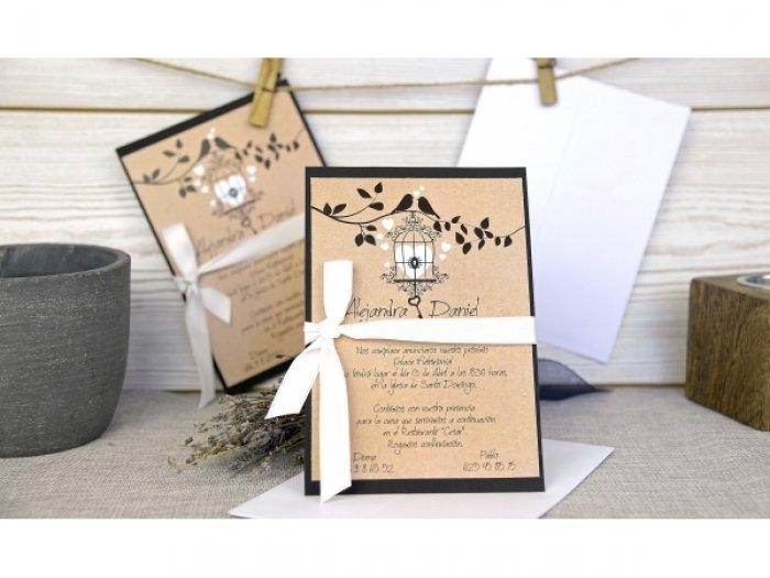 Invitación de boda - KRAFT PAJARITOS   (C64832)
