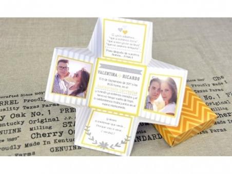 Invitación de boda ORIGINAL CAJA con fotos 32689