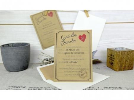 Invitación de boda - ORIGINAL KRAFT CORAZÓN CARD 32629