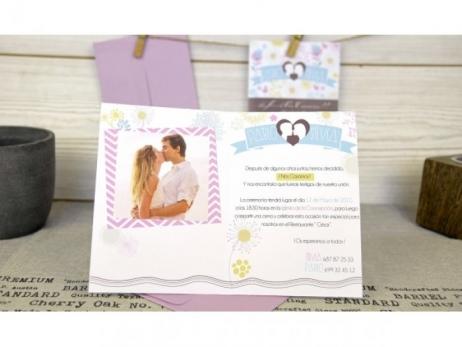 Invitación de boda - ORIGINAL CON FOTO CHEVRON   (C68832)
