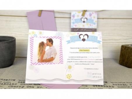 Invitación de boda ORIGINAL CON FOTO CHEVRON CARD 32688