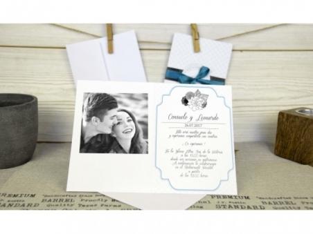 Invitación de boda barata ELEGANTE con FOTO 32674