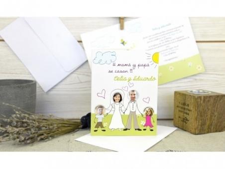 Invitación de boda con hijos FAMILIA FOTOS CARD 32604