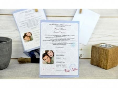 Invitación de boda barata ORIGINAL PASAPORTE CARD 32653