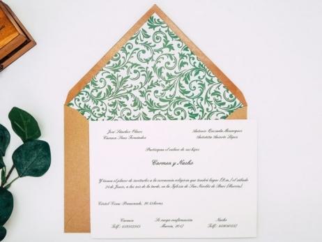 Invitacion de boda clasica - ORNAMENTAL TONOS VERDES ref. love1