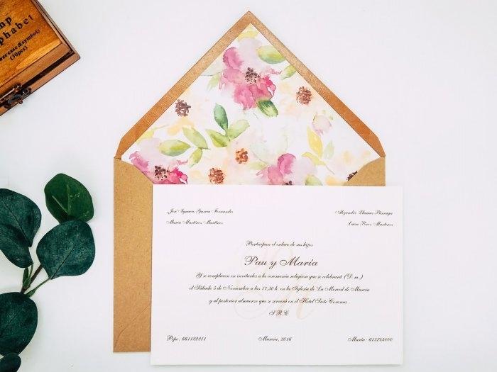 Invitacion de boda clasica - FLORAL ref. love2