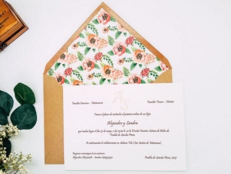 Invitacion de boda clasica - CON FLORES ref. love3