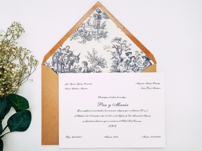 Invitacion de boda clasica - ESTAMPADO CLÁSICO ref. love7