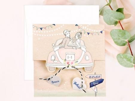 Invitación de boda PAREJA EN COCHE vintage 39700