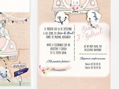 Invitación de boda - PAREJA EN COCHE   (C70039)