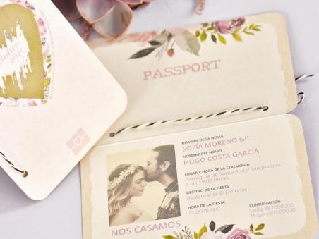Invitación de boda PASAPORTE CORAZON RASCA 39701