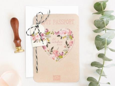 Invitación de boda - PASAPORTE CORAZON RASCA   (C70139)