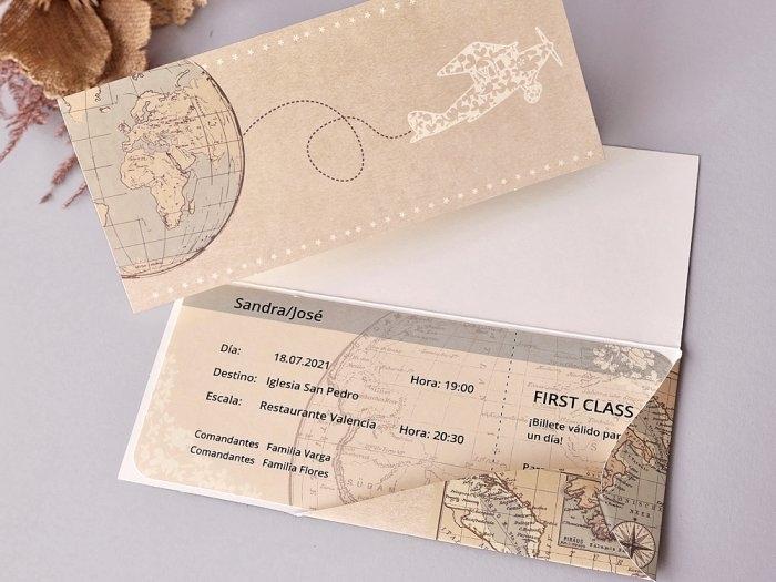 Invitación de boda - BILLETE DE AVIÓN   (C70439)