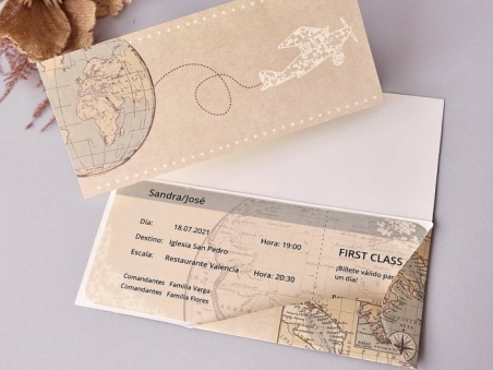Invitación de boda BILLETE DE AVION 39704