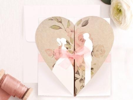 Invitación de boda rustica kraft PAREJA VINTAGE 39705