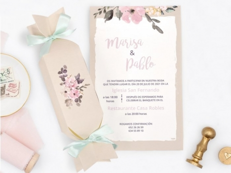Invitación de boda - CAJA CARAMELO RÚSTICO     (C72639)