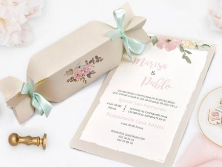 Invitación de boda CAJA CARAMELO RÚSTICO CARD 39726