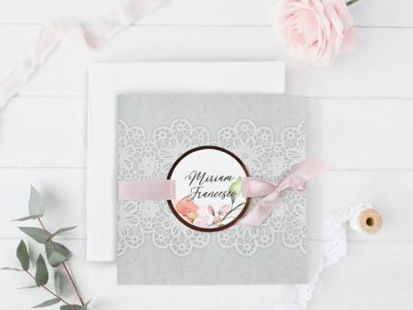 Invitación de boda barata  FLORES ENCAJE CARD 39728