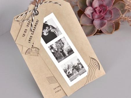 Invitación de boda barata TIRA DE FOTOS KRAFT CARD 39731