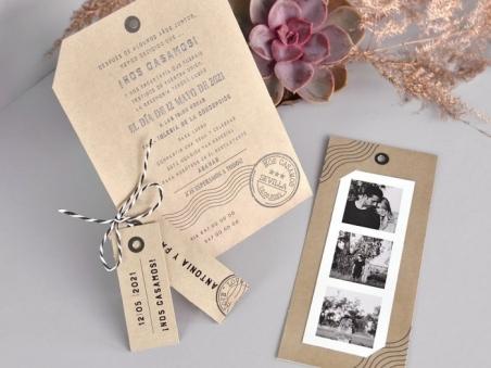 Invitación de boda TIRA DE FOTOS KRAFT CARD 39731