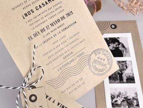 Invitación de boda - TIRA DE FOTOS KRAFT    (C73139)