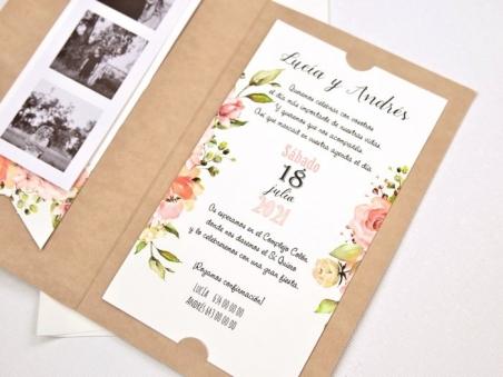 Invitación de boda ROMANTICA CON TIRA FOTOS CARD 39732