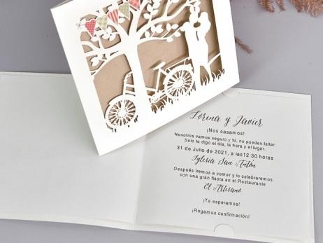 Invitación de boda - CORTE LASER PAREJA    (C73339)