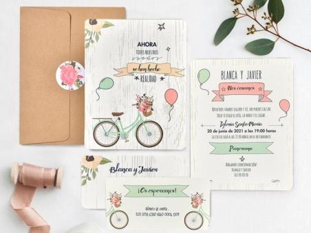 Invitación de boda barata BICICLETA CARD 39737