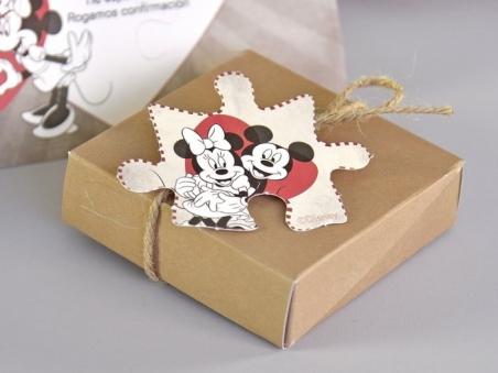 Invitación de boda barata PUZZLE MINNIE Y MICKEY CARD 39738