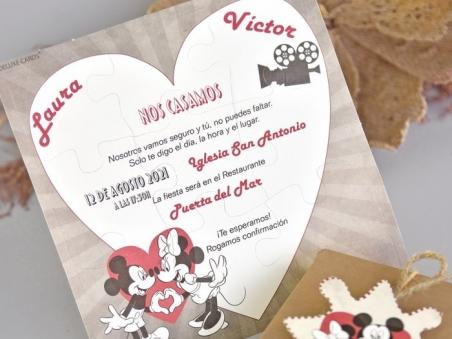 Invitación de boda PUZZLE MINNIE Y MICKEY CARD 39738