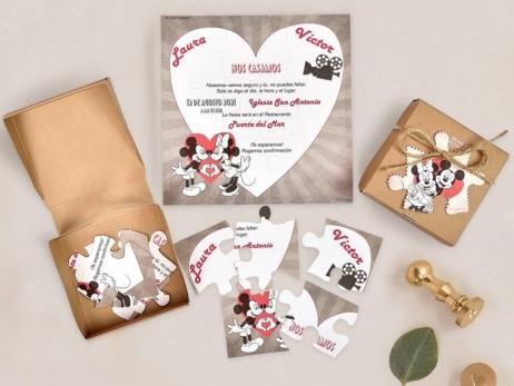 Invitación de boda - PUZZLE MINNIE Y MICKEY    (C73839)