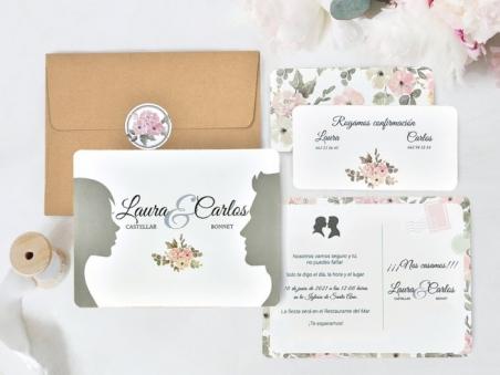 Invitación de boda barata NOVIOS SOMBRAS 39741