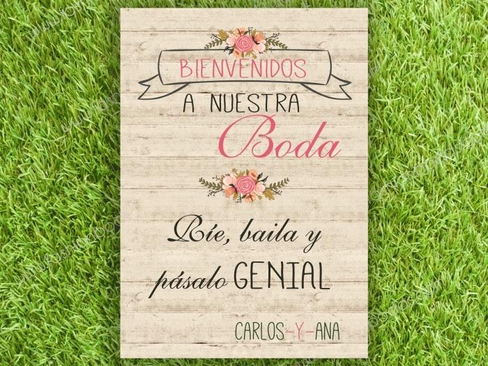 Cartel para boda - BIENVENIDOS A NUESTRA BODA (colección Floral Card)