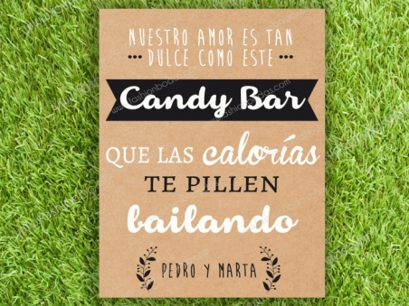 Cartel para boda CANDY BAR Kraft Laurel