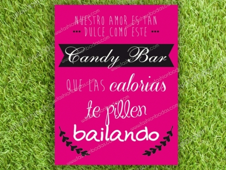 Cartel para boda - CANDY BAR (coleccion Cenefa Fucsia)