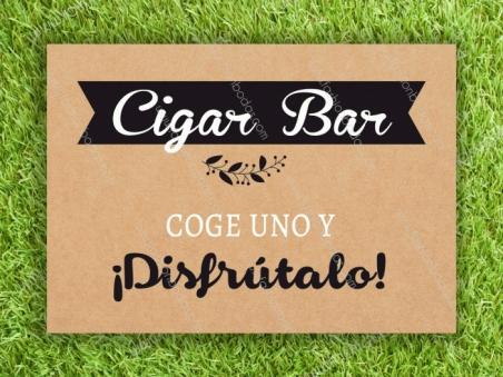 Cartel para boda CIGAR BAR Kraft Laurel